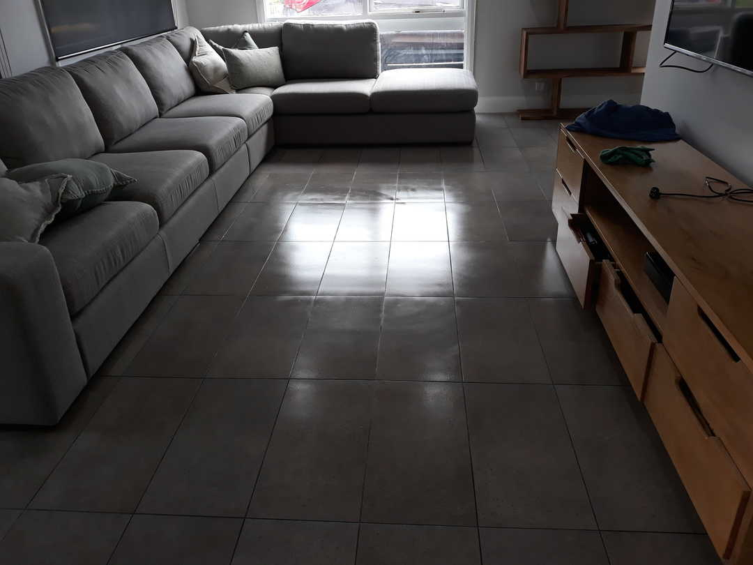 Indoor cleaning - brown tiles after