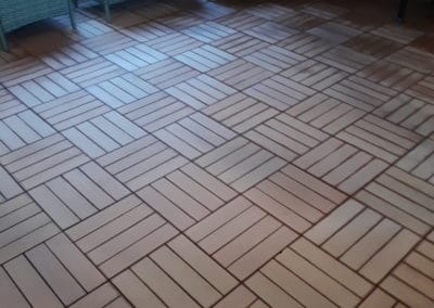 Indoor cleaning wooden tiles before cleaning