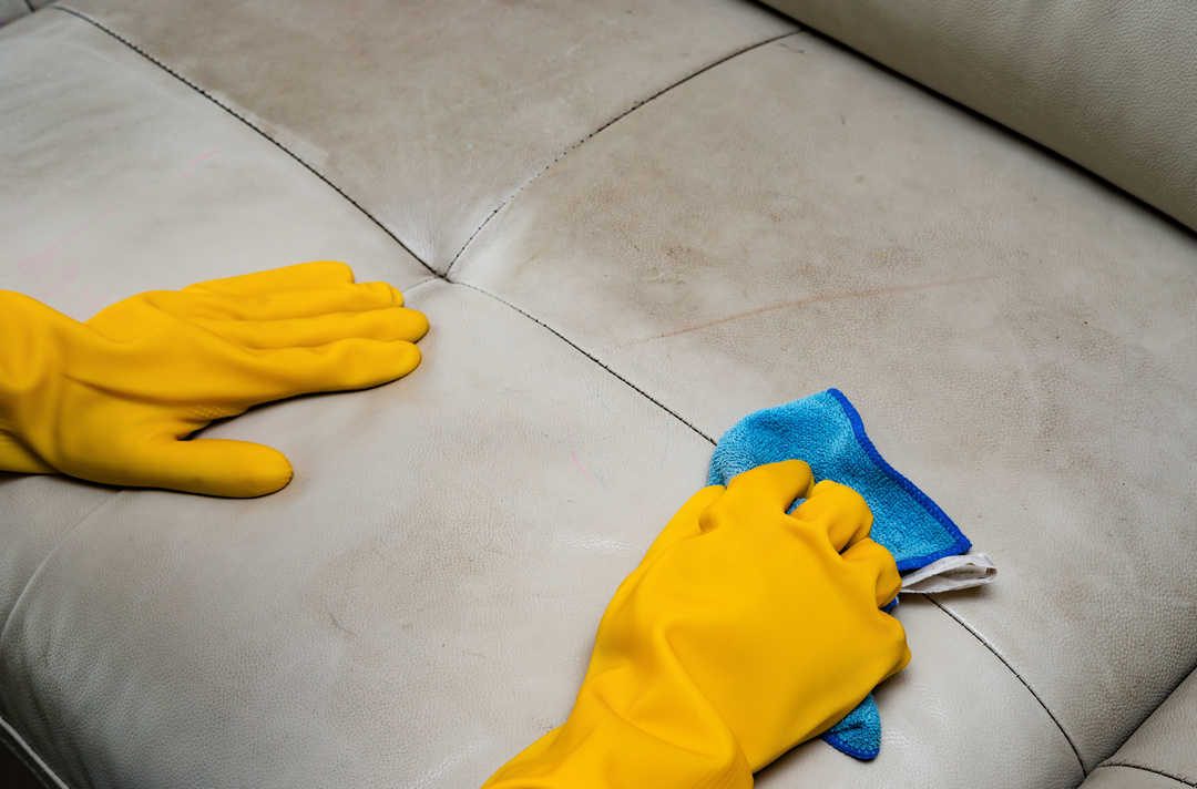 cleaning leather sofa at home with wet towel