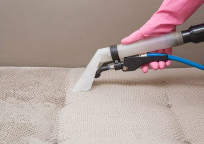 Sofa chemical cleaning with professionally extraction method. Hand in rubber protective glove holding nozzle of extractor. Upholstered furniture. Early spring or regular clean up.