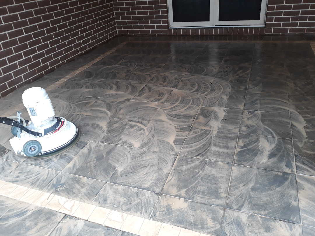 Outdoor cleaning - progress tile cleaning