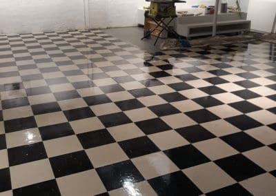 black and white checked vinyl after cleaning