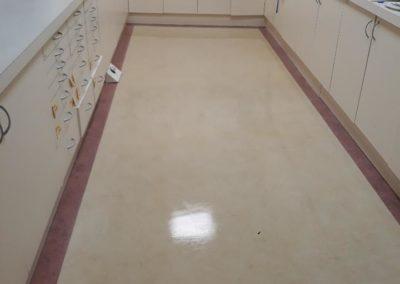 vinyl floor strip cleaned at dental surgery
