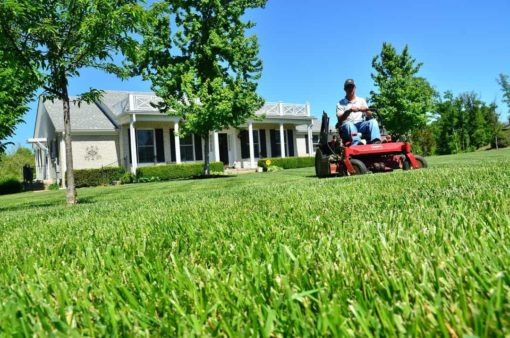 Guy on rideon mower out front of house